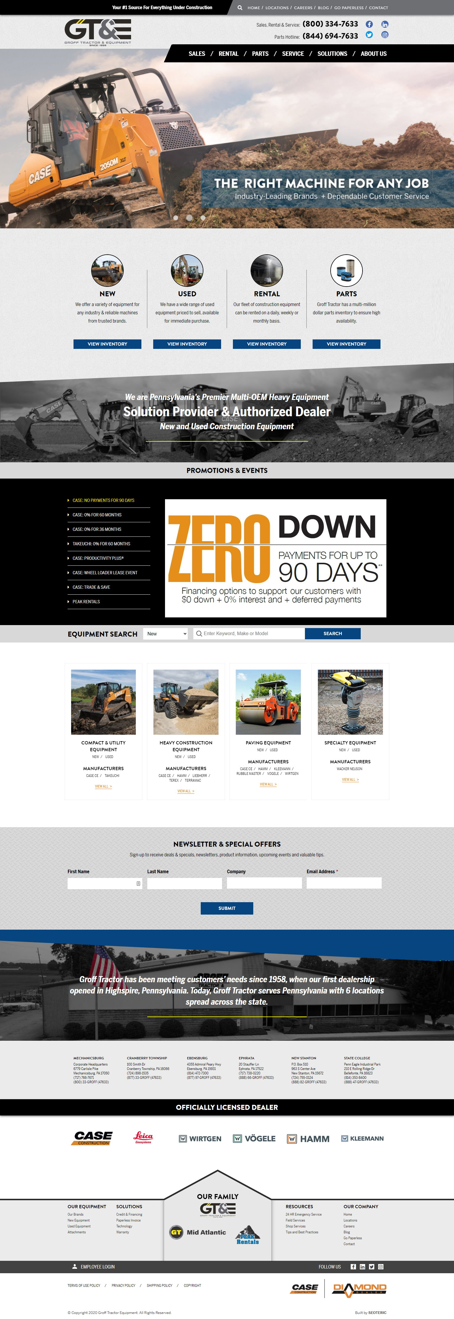 custom website design for Groff Tractor and Equipment