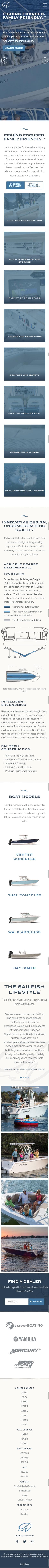 custom website design for Sailfish Boats mobile