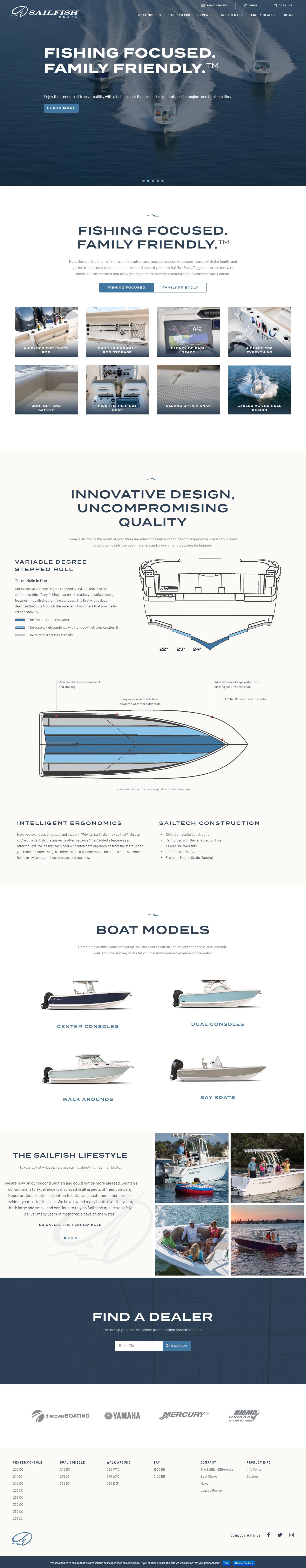 custom website design for Sailfish Boats