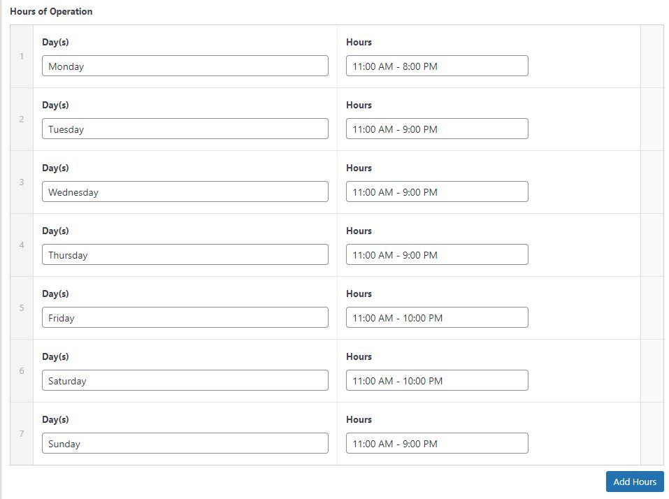 Franchise Development Website Backend Screenshot - Store Hours